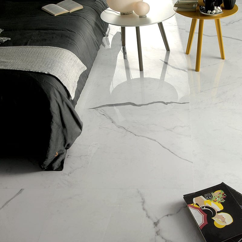 Bianco Statuario Polished Porcelain Tiles 24x24 Country