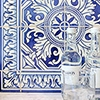 122 KALEIDOSCOPE, BLUE  GLAZED CERAMIC TILES (WLV10291) 307 BORDER BLUE  GLAZED CERAMIC BORDERS (WLV10336)
