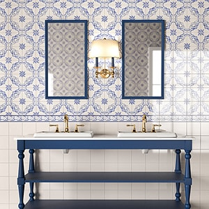 CASAL BLUE GLAZED CERAMIC TILES (WLV20502) BLANC GLAZED CERAMIC TILES (WLV20001) 412 BORDER GLAZED CERAMIC BORDERS (WLV20359)