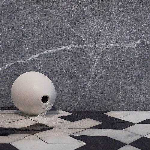 BLACK, SNOW WHITE, GLACIER MULTI FINISH RAVEL MARBLE WATERJET DECOS (XET03001)