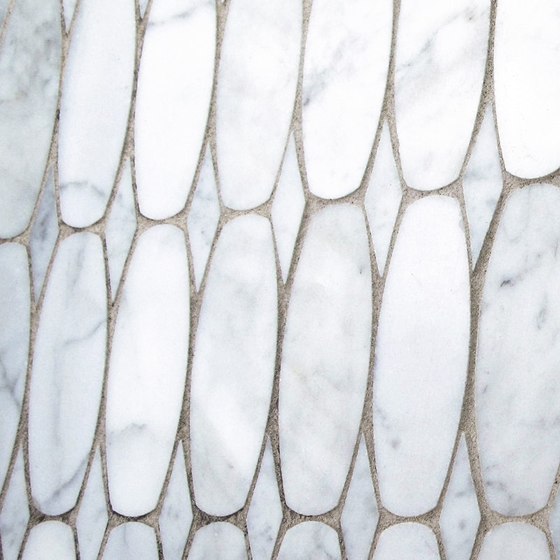 WHITE CARRARA POLISHED OVAL SCALE MARBLE WATERJET DECOS (XSC02001)