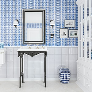 SNOW WHITE, BLUE GLOSSY CECIL STRIPE CERAMIC TILES (XSP90006)
