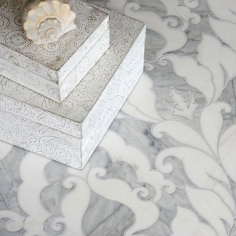 Avenza Dark, Dolomite Multi Finish Rumi Marble Waterjet Decos 13 9/16x18