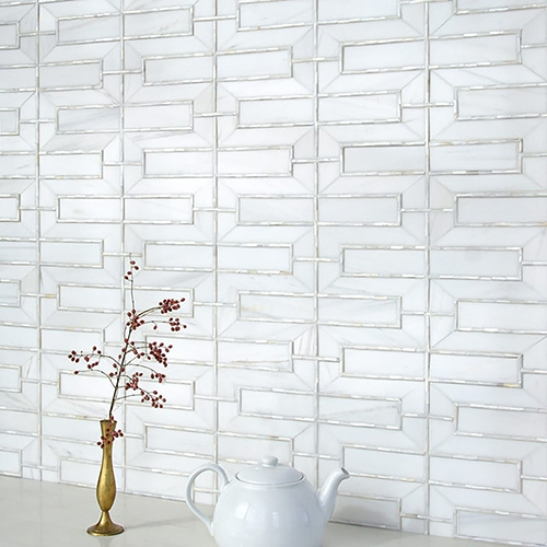 DOLOMITE, SHELL POLISHED MANDARIN LATTICE MARBLE MOSAICS (YNR90347)