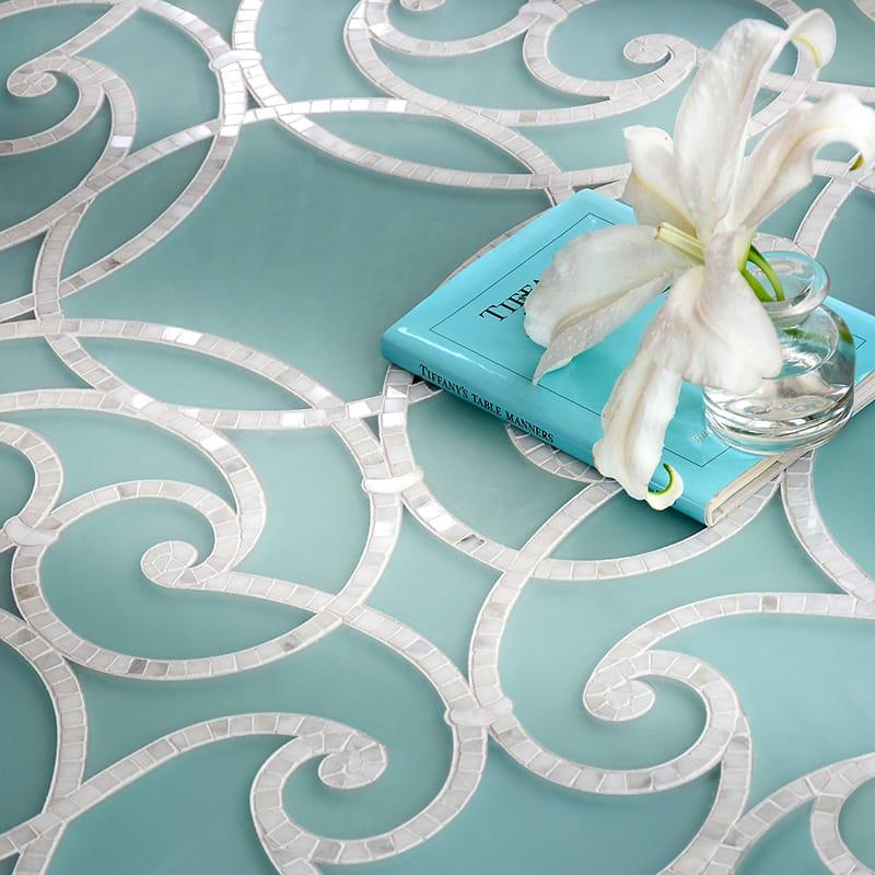 Aquaberyl, Calacatta Multi Finish Abigail Marble Mosaics 28 3/4x28 3/4