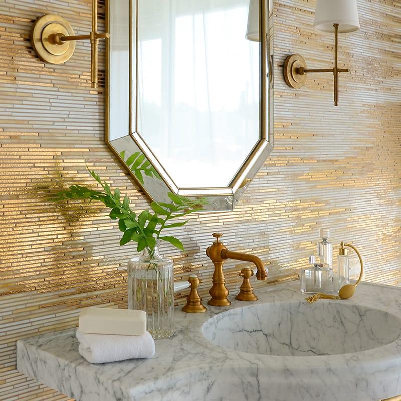 24k Gold, Agate Quartz, Jewel Glossy Reve Glass Mosaics Custom