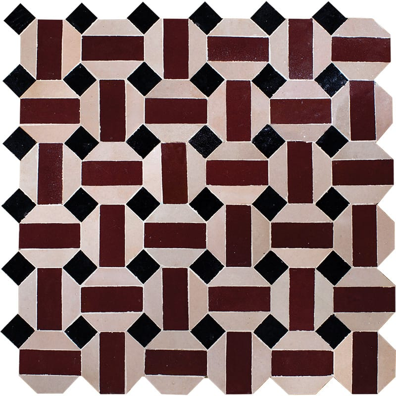 Zellige Ceramic mosaic collection, the Ahmed pattern in deep red with black and white.