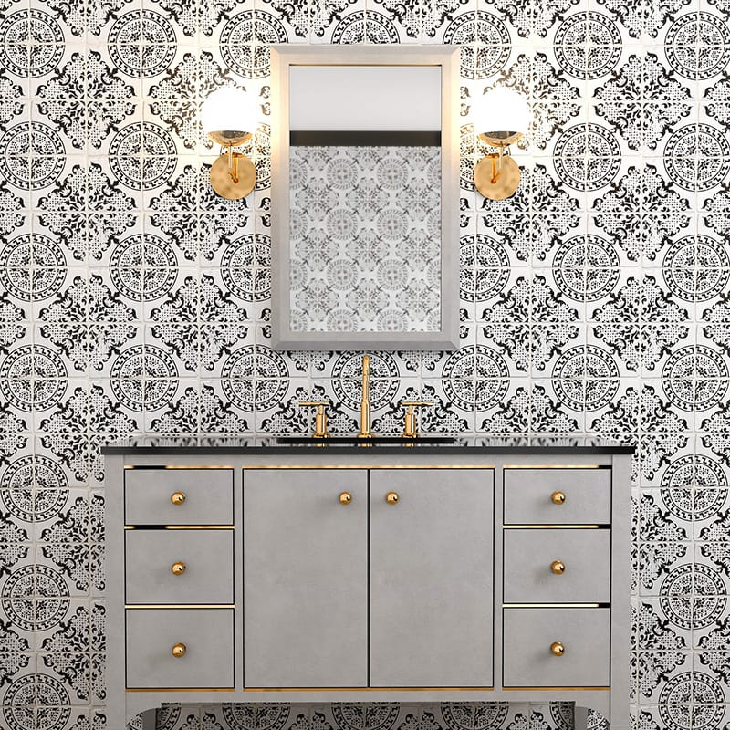 Antique Tile by Country Floors in black and white