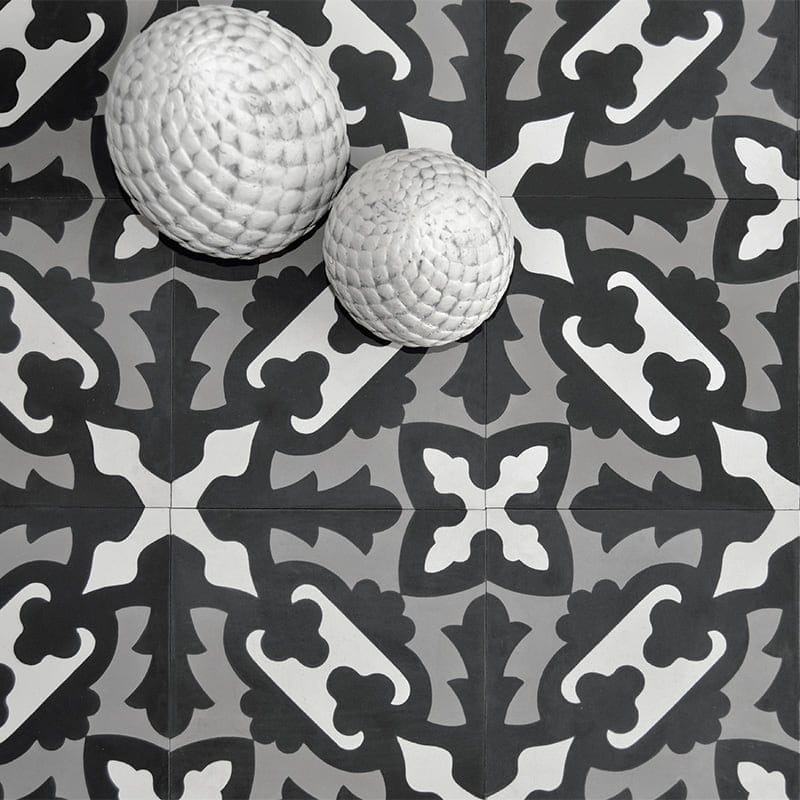 barcela cement tile by Marble Systems at Country Floors in black and white