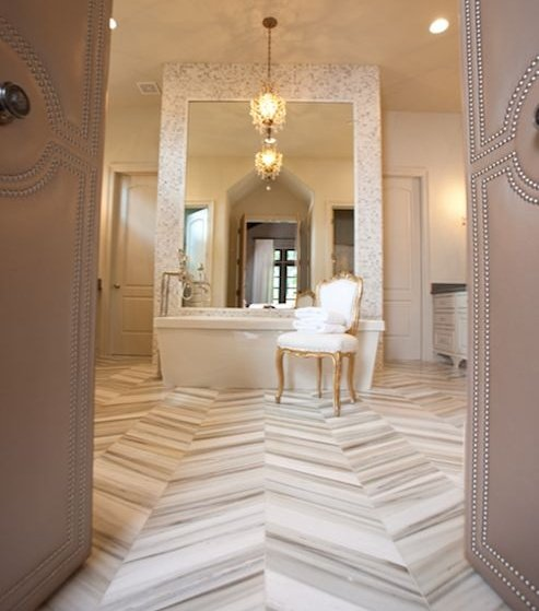 chevron bathroom tile